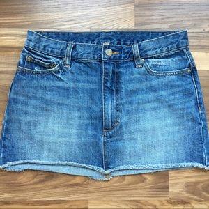 Free People Light Wash Raw Hem Denim Mini Skirt